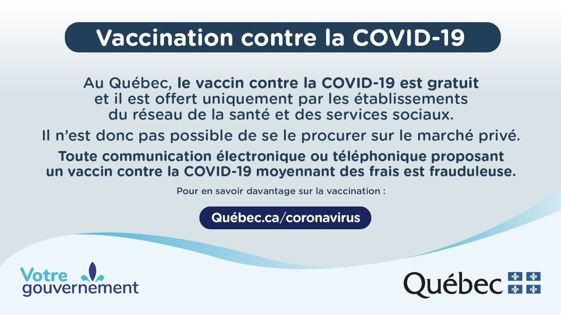 In Quebec, the COVID-19 vaccine is free